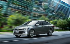 Download wallpapers Volkswagen Virtus, 4k, road, 2018 cars, sedans, new Virtus, VW, Volkswagen