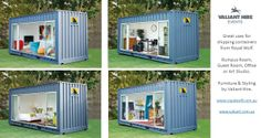 Great uses for Shipping Containers. Rumpus room, Guest Room, Studio or Office www.valiant.com.au for all your furniture hire needs. www.royalwolf.com.au for your containers !
