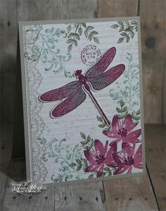 This has to be my favourite Dragonfly dreams card. By LW Designs: Avant Garden Dragonfly Dreams Butterfly Cards, Flower Cards, Paper Butterflies, Monarch Butterfly, Handmade Greetings, Greeting Cards Handmade, Bee Cards, Stamping Up Cards, Stampin Up