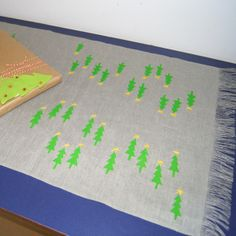 Christmas tree table runner - neon green