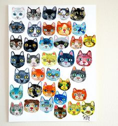 37 cat faces on italian watercolour paper. (By my friend Queen of the Cats) I Love Cats, Crazy Cats, Cool Cats, Art And Illustration, Design Illustrations, Photo Chat, Here Kitty Kitty, Cat Drawing, Cat Design