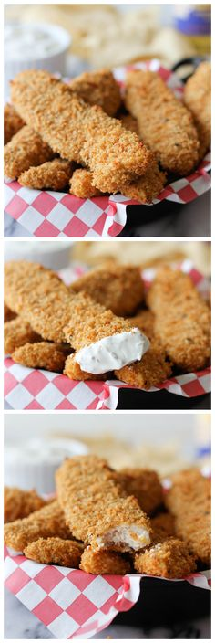 Chicken Tenders with Greek Yogurt Ranch - These healthy baked chicken tenders are so tasty, so easy to make, and such a hit with both kids and grown-ups!