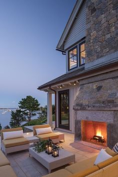 Outdoor dining and fireplace idea.