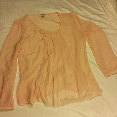 NWOT Flowy Blush pink sheer long sleeve blouse Size xl New, Never worn  Michael Brandon purchased at Nordstroms  Flowy blush pink sheer long sleeve blouse with front pleating that has such a beautiful breezy look  100% polyester  Delicate button at wrists michael brandon Tops Blouses