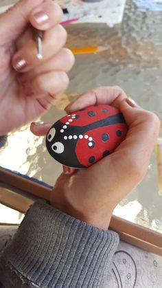 This is the quick guide to painting rocks, so the rock shown here is completely finished. It is painted as a ladybug.