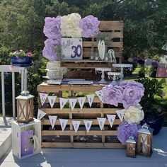 Rustic chic outdoor birthday party decorations. Lavender and ivory foam flower wall decorations from CV Linens. DIY foam flower wall decorations for budget friendly adult birthday party and dessert table using wood palettes. 30th birthday dessert table. Rustic dessert table decorations for party decor. #desserttable #desserttabledecorations #adultbirthdayparty #adultbirthdaypartydecorations #partydecorations #birthdaypartydecorations Rustic Birthday Parties, Birthday Party Decorations For Adults, Dessert Table Birthday, Birthday Party Desserts, Dessert Table Decor, Adult Birthday Party, 17th Birthday, Theme Parties, Birthday Wishes