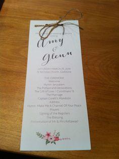DIY wedding order of service twine