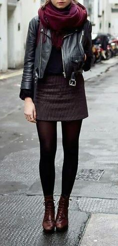 Street Style Fall, burgundy and leather outfit. Short skirt and black leather jacket. Good outfit for a rainy day in the city. by adriana. - Total Street Style Looks And Fashion Outfit Ideas Fashion Mode, Look Fashion, Autumn Fashion, Womens Fashion, Feminine Fashion, Luxury Fashion, Fashion News, Fall Fashion Tights, Fashion Styles
