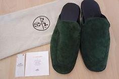 cadeau-St-Valentin-slipper-cuir-HERMES-vert-suede-cousu-mains-dustbag-42-neufs