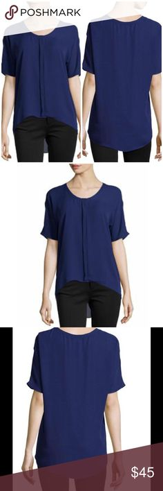 "Tahari front placket blouse blueberry Tahari knit blouse with front placket detail. Scoop neckline; unfinished trim. Short sleeves. Relaxed fit. High-low hem. Pullover style. Polyester. Underarm across 26"". Length 29"". Brand new with tag. Retail price $148. Tahari Tops Blouses"