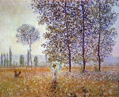 Reproduction de Monet, Peupliers au soleil. Tableau peint à la main dans nos ateliers. Peinture à l'huile sur toile.