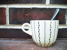Vines & Dots - Hand Painted Ceramic Mug. $12.00, via Etsy.