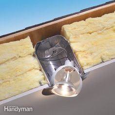 How to Use Insulated Can Lights in Ceilings - Use airtight recessed lights in a cathedral ceiling to prevent heat loss, moisture problems and roof rot. The fixtures are inexpensive. Vaulted Ceiling Lighting, Pot Lights, Sloped Ceiling, Vaulted Ceilings, Tray Ceilings, Installing Recessed Lighting, Roof Sheathing, Rain Barrel, Interiors