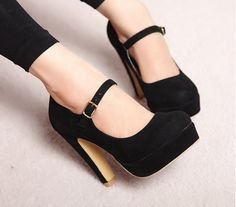 Spring Fashionable All-match Waterproof Suede High-Heeled Shoes