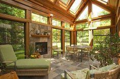 Sunroom w fireplace