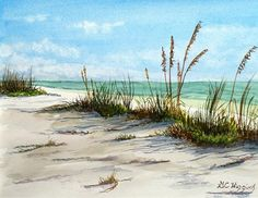 "Sea Oats by Glenn Higgins Watercolor ~ 12"" x 14"""