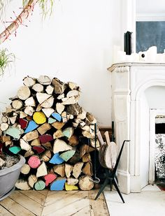 REVIVE | add a pop of color to the fireplace wood pile | hervé goluza photography