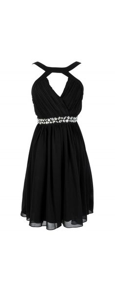 Lily Boutique Embellished Pleated Chiffon Designer Dress by Minuet in Black, $74  www.lilyboutique.com