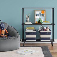 Kids Shelving And Bookcases Black Bookshelf, Kids Bookcase, Bookshelves, Fuzzy Bean Bag Chair, Wall Shelves, Shelving, Teepee Kids, Boy Room, Bedroom Decor