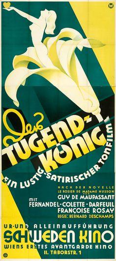 The Virtue King/ Le Rosier de Madame Husson (Bernard Deschamps, 1932) Austrian three sheet design by Gustav Mezey