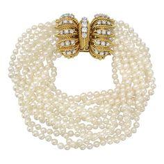 Marianne Ostier Pearl Torsade Bracelet | From a unique collection of vintage beaded bracelets at http://www.1stdibs.com/jewelry/bracelets/beaded-bracelets/
