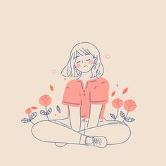 Free Art - Woman sitting in a flower bed with her eyes closed - Mixkit Art And Illustration, Illustration Mignonne, Korean Illustration, Character Illustration, Portrait Illustration, Girl Illustrations, Illustration Fashion, Cartoon Kunst, Cartoon Art