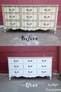French Provincial serpentine dresser with 9 drawers painted white with distressed turquoise undertones before and after pictures. Refinished by Kelly's Creations.  https://www.facebook.com/pages/Kellys-Creations-Refinished-Furniture/524028237619793