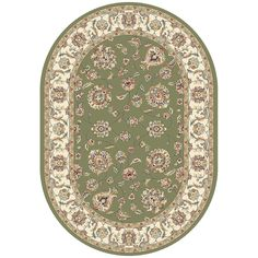Dynamic Rugs Ancient Garden 57365-4464 Green-Ivory Area Rug