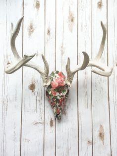 Rosie - Floral Deer Skull and Antlers by BuffaloDaisies on Etsy