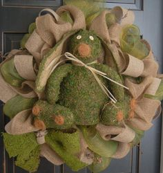 Moss and Burlap Easter Bunny Wreath Deco Mesh by MaddysonsLane, $135 ...