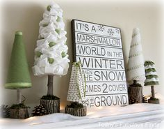 Winter wonderland vingnette with detailed pictorial instructions for building the trees and the sign. Design idea by Janet from Today's Fabulous Finds; featured on Under the Table and Dreaming blog.