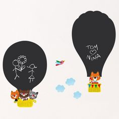 Hot Air Balloons Chalkboard Wall Sticker