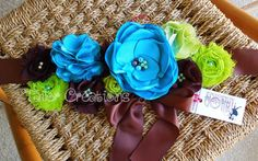 maternity sash turquoise and brown - Google Search