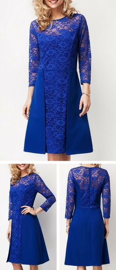 Zipper Back Royal Blue Lace Yoke Dress