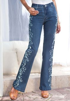 How to machine embroidery on jean pant legs google search embroidered jeans by denim 247 ccuart Gallery