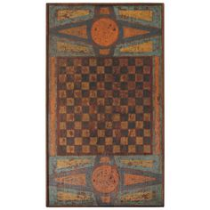 Extremely Rare 19th c. Original Painted Gameboard | From a unique collection of antique and modern game boards at https://www.1stdibs.com/furniture/folk-art/game-boards/