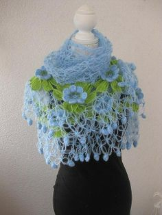 crochet- this shawl is a simple love knot stitch and looks free form so I'll make a similar one without a pattern.