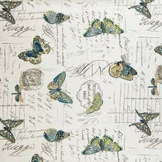 LOVE this Fabric! Sea Glass Blues Butterflies This would be so cool as a wall paper!
