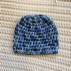 Crocheted Newborn Beanie Blues Greens Photo Prop by PowersOfLove, $12.00