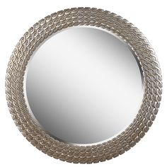 "Silvertone Round Link Wall Mirror, 35"", 176.49 at overstock August 2016."