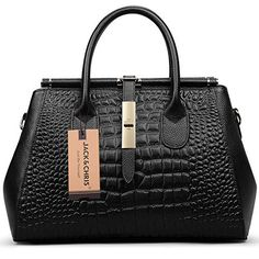 Jack&Chris® Women Genuine Leather Crocodile Grain Shoulder Bag Top-handle Tote, WBDZ024 (Black) - http://leather-handbags-shop.com/jackchris-women-genuine-leather-crocodile-grain-shoulder-bag-top-handle-tote-wbdz024-black/