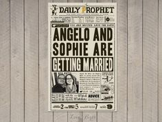 Harry Potter Wedding Daily Prophet invitation - Digital file by SophiesLovebirds on Etsy #wedding #HarryPotter #nerdy