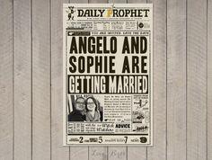 Harry Potter Wedding Daily Prophet invitation - Digital file by SophiesLovebirds on Etsy #wedding #HarryPotter #nerdy