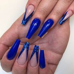 50 Fabulous Sparkly Giltter Blue Nails Design On Coffin And Stiletto Nails To Tr Blue Acrylic Nails Glitter, Dark Blue Nails, Blue Coffin Nails, Glitter Accent Nails, Best Acrylic Nails, Stiletto Nails, Cobalt Blue Nails, Navy Nails, Aycrlic Nails