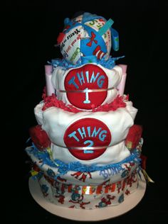 diaper cakes for twin girls | ... Thing 2 Dr. Seuss Inspired Diaper Cake by Mama Bakes Diaper Cakes