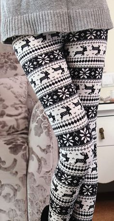 Snowflake leggings. Cute for lounging at home.