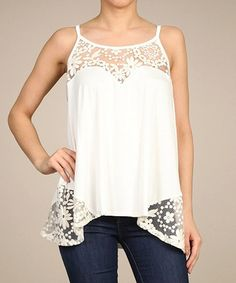 This White Lace-Trim Swing Tank by SELFEE is perfect! #zulilyfinds