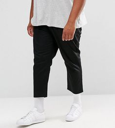 ASOS PLUS Tapered Cropped Chinos In Black - Black