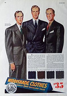 Men's Fashions, 30's Vintage Print Ad. Color Illustration (Middishade Clothes) Original Rare 1938 Esquire Magazine Art
