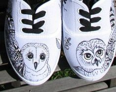 HAND PAINTED SHOES; White Canvas sneakers, original art, owls, zentangle, doodle, black and white, waterproof images, size seven,